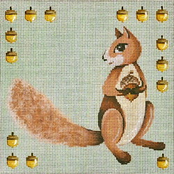 click here to view larger image of Squirrel w/Nut Border (hand painted canvases)