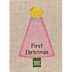 click here to view larger image of Rubber Ducky First Christmas - Pink (hand painted canvases)