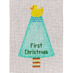 click here to view larger image of Rubber Ducky First Christmas - Aqua (hand painted canvases)