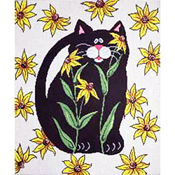 click here to view larger image of Black Cat on Sunflowers (hand painted canvases)