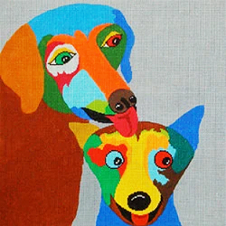 click here to view larger image of Dog 2 Friends on Gray (hand painted canvases)