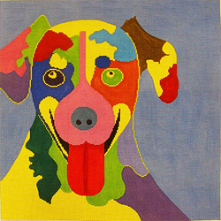 click here to view larger image of Dog - Big Tongue on Blue - 18M (hand painted canvases)