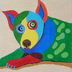 click here to view larger image of Dog - Lying Down on Tan - 18M (hand painted canvases)