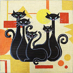 click here to view larger image of Black Cats on Orange Geometric (hand painted canvases)