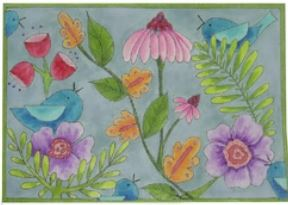 click here to view larger image of Birds and Flowers (hand painted canvases)