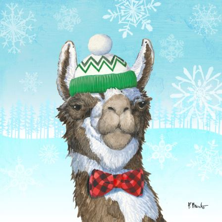 click here to view larger image of Fa La La Llama I - Green/White Hat (hand painted canvases)