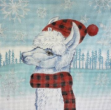 click here to view larger image of Fa La La Llama IV - Plaid Hat (hand painted canvases)