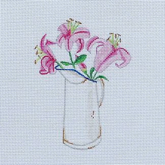 click here to view larger image of Pink Flowers - Lily (hand painted canvases)