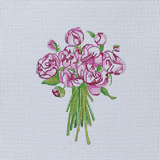 click here to view larger image of Pink Flowers Bouquet - Peonies (hand painted canvases)