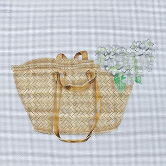 click here to view larger image of Market Basket Tote w/White Hydrangea (hand painted canvases)