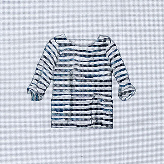 click here to view larger image of Navy/White Striped Shirt (hand painted canvases)