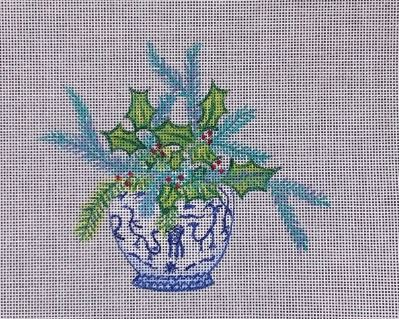 click here to view larger image of Greenery in Blue/White Jar (hand painted canvases)