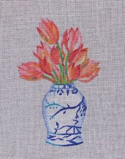 click here to view larger image of Tulips in Blue/White Jar (hand painted canvases)
