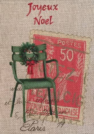 click here to view larger image of Joyeux Noel w/Green Chair (hand painted canvases)