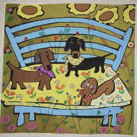 click here to view larger image of Dachshund Puppies (hand painted canvases)