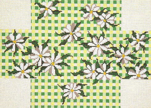click here to view larger image of Daisy Gingham Brick Cover (hand painted canvases)
