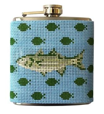 click here to view larger image of Fish Canvas and Flask (hand painted canvases)