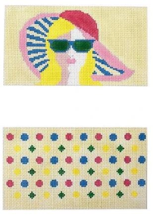 click here to view larger image of Girl with Pink Hat Sunglasses Case (hand painted canvases)