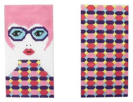 click here to view larger image of Girl with Pink Hair Eyeglass Case (hand painted canvases)