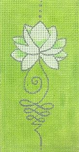 click here to view larger image of Lotus - Green (hand painted canvases)