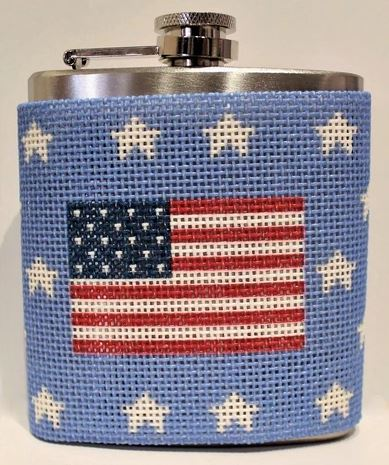 click here to view larger image of American Flag Canvas and Flask (hand painted canvases)