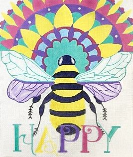click here to view larger image of Bee Happy (hand painted canvases)