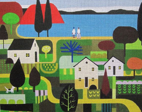 click here to view larger image of Lakeside Village (hand painted canvases)