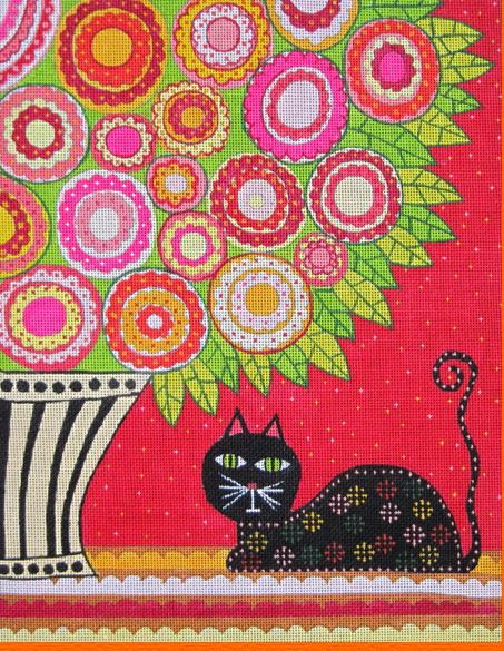 click here to view larger image of Feline Florist I (hand painted canvases)