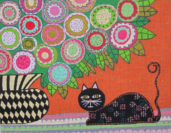 click here to view larger image of Feline Florist II (hand painted canvases)