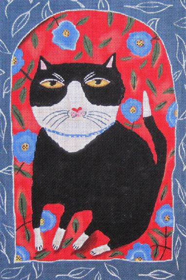 click here to view larger image of Tuxedo Morning Glory (hand painted canvases)