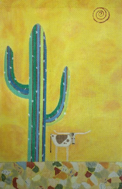 click here to view larger image of Cactus Longhorn (hand painted canvases)