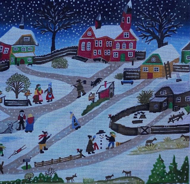 click here to view larger image of Snowy Hill (hand painted canvases)