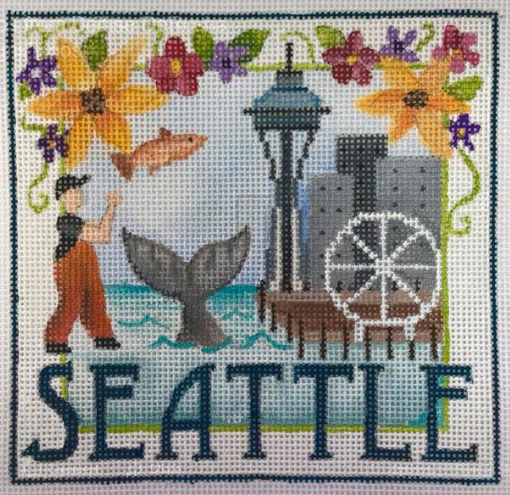 click here to view larger image of Postcard - Seattle (hand painted canvases)