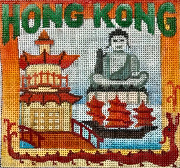 click here to view larger image of Postcard - Hong Kong (hand painted canvases)