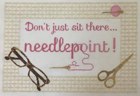 click here to view larger image of Dont just sit there - Needlepoint ! Pink (hand painted canvases)