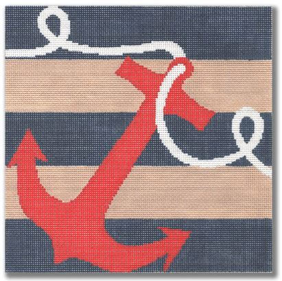 click here to view larger image of Anchor on Stripes (hand painted canvases)