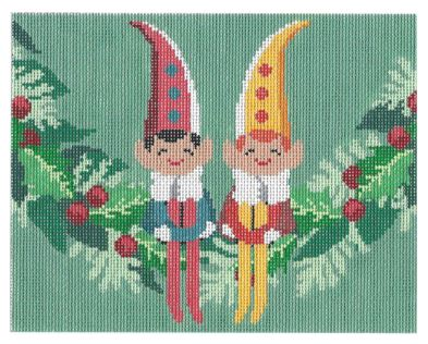 click here to view larger image of Elves on Garland   (hand painted canvases)