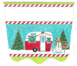 click here to view larger image of Christmas Camper Stocking Cuff (hand painted canvases)
