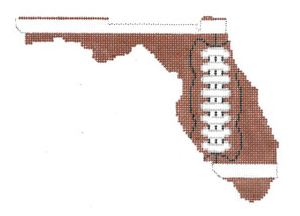 click here to view larger image of Football State Shaped - Florida (hand painted canvases)
