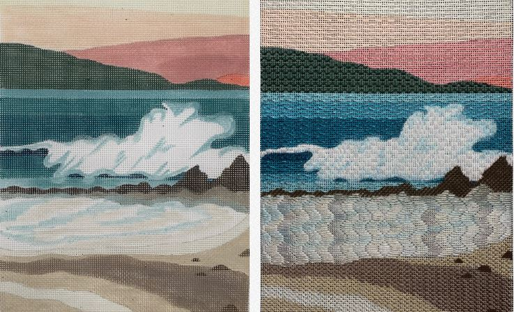 click here to view larger image of Seacape Graphic Landscape  (hand painted canvases)