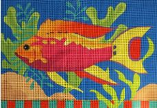click here to view larger image of Pink Tropical Fish (hand painted canvases)