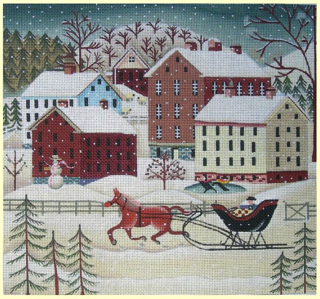 click here to view larger image of Winter Farm Fun (hand painted canvases)
