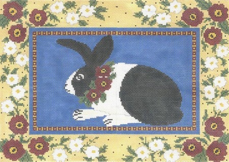 click here to view larger image of Floral Framed Bunny (hand painted canvases)