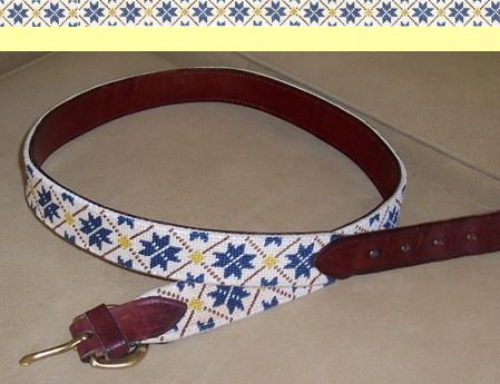 click here to view larger image of Nordic Snowflake Belt (hand painted canvases)