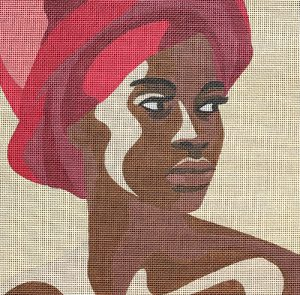click here to view larger image of Black Woman w/Red Turban (hand painted canvases)