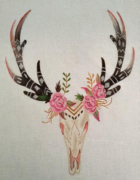 click here to view larger image of Cow Skull and Flowers (hand painted canvases)