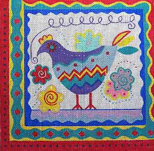 click here to view larger image of Carnival Chicken (hand painted canvases)