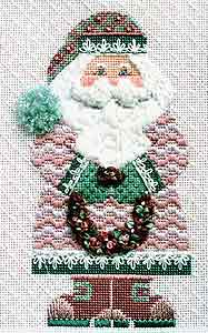 click here to view larger image of Rose Wreath Santa (hand painted canvases)