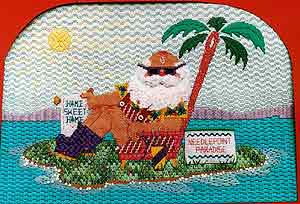 click here to view larger image of Needlepoint Paradise Santa (hand painted canvases)