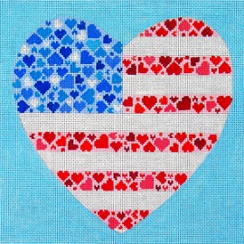 click here to view larger image of American Flag Heart (hand painted canvases)